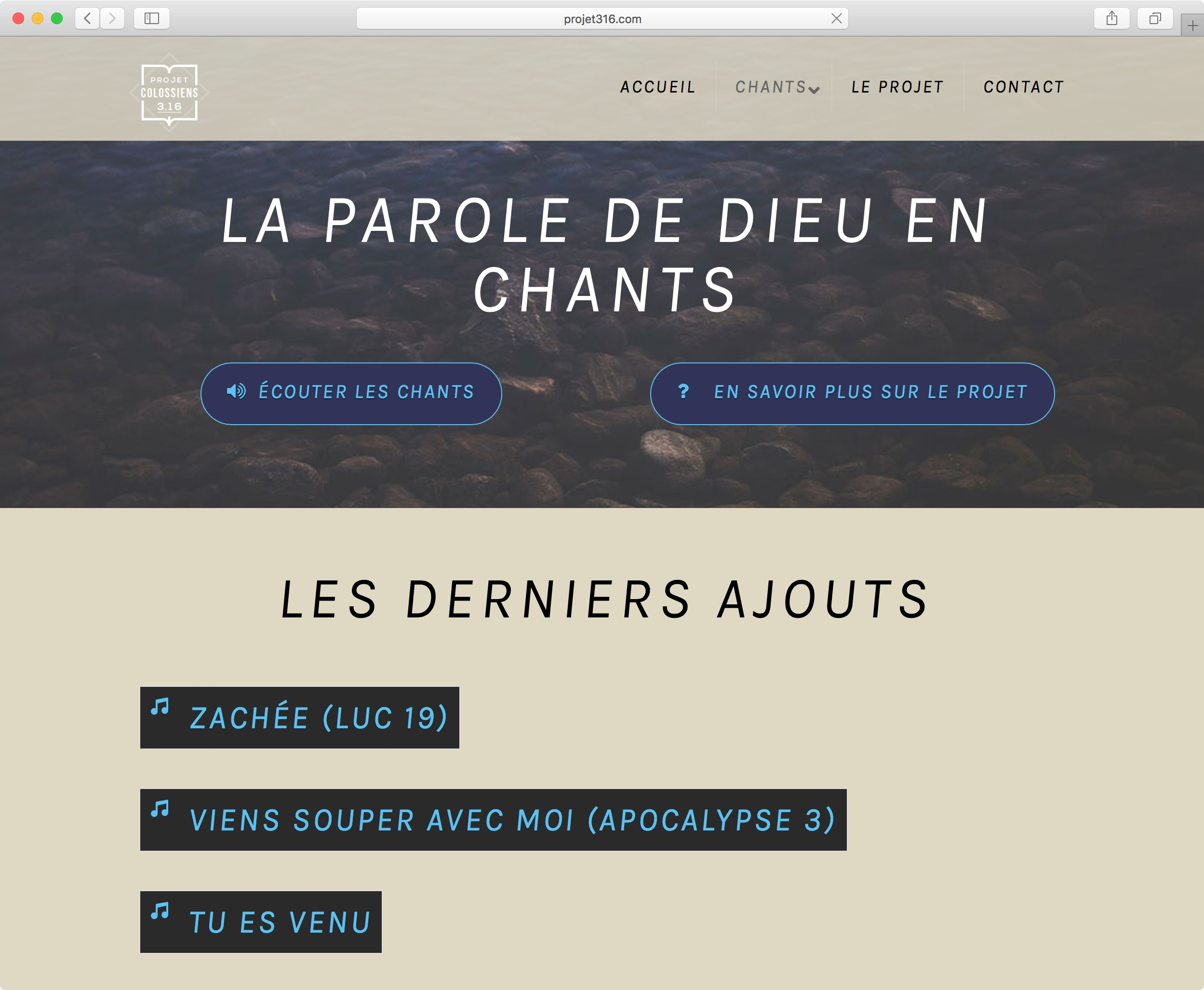 site web projet colossiens 3.16